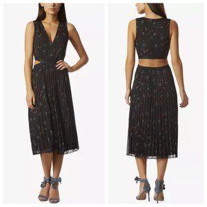 Avec Les Filles Metallic Floral Pleat Cutout Dress